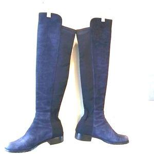 STUART WEITZMAN 50/50 BLUE Black Suede OTK BOOTS 7